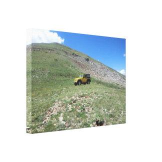 Lona escénica del rubicon amarillo del jeep impresión en lienzo