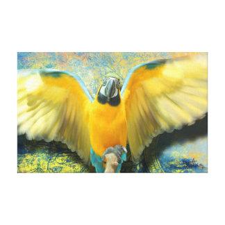 Lona estirada 19x12 del Macaw Impresión En Lienzo