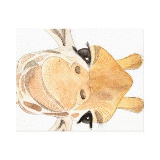 Lona estirada de la jirafa fresca impresión en lienzo