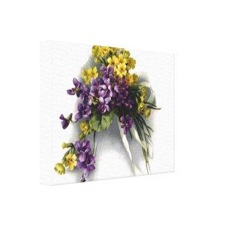 Lona estirada del ramo violeta del vintage pequeña impresión en lienzo estirada