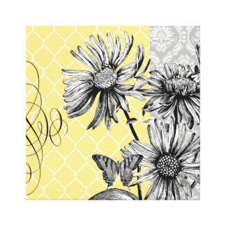 Lona estirada floral gráfica del vintage moderno impresión en lienzo