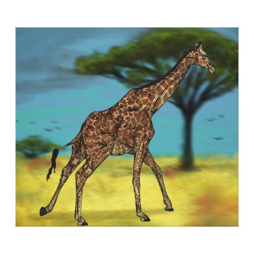 Lona estirada jirafa lienzo envuelto para galerías