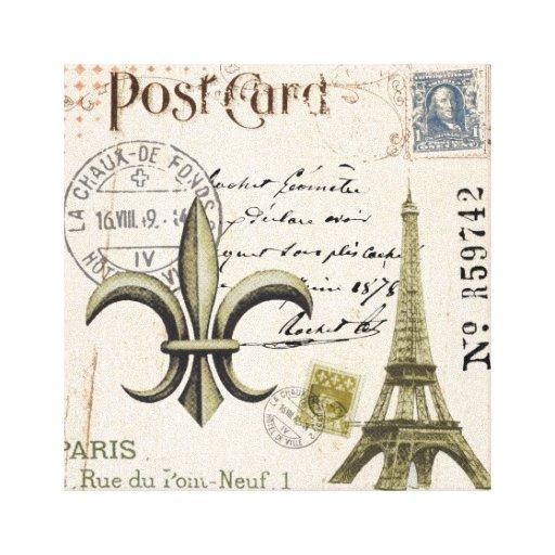 Lona estirada postal de la torre Eiffel del vintag Impresión En Lienzo