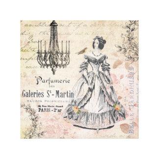 Lona estirada señora francesa del vintage impresión en lienzo estirada