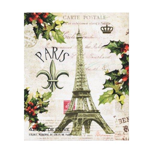 Lona estirada torre Eiffel del navidad del vintage Impresiones En Lona Estiradas