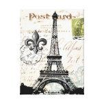 Lona estirada torre Eiffel francesa del vintage Impresion De Lienzo