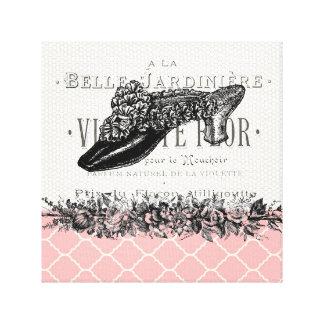 Lona estirada zapato francés del vintage impresión en lienzo estirada