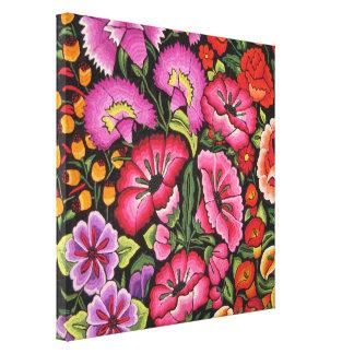 Lona floral linda. Flores, estilo mexicano Impresión En Lona Estirada