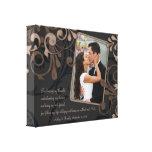 Lona floral negra de la plantilla de la foto del b impresión de lienzo