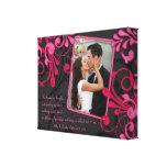 Lona floral negra rosada de la plantilla de la fot impresión de lienzo