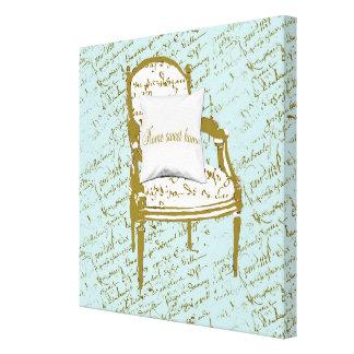 Lona francesa casera dulce casera de la escritura impresión en lona estirada