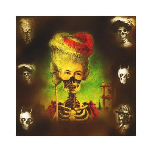 Lona gótica de los esqueletos impresion de lienzo