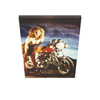 Lona grande del chica modelo de la motocicleta lienzo envuelto para galerías