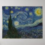 Lona grande Vincent van Gogh de la noche estrellad Poster
