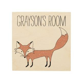 Lona ilustrada personalizada de madera del Fox Impresión En Madera