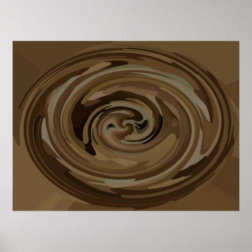 Lona moderna oval de los remolinos de Brown y del  Poster