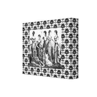 Lona negra y blanca de la VINTAGE MUJER del damasc Impresión De Lienzo