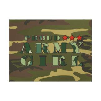 Lona orgullosa de la novia del ejército impresión en lienzo