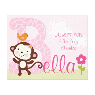 Lona personalizada del chica del mono de la selva  lienzo envuelto para galerías