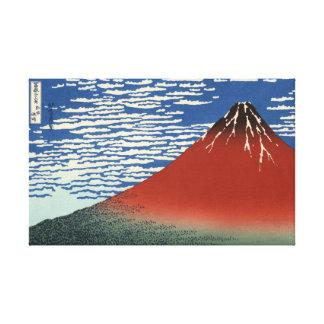 Lona roja de Fuji del cielo del claro del viento d Lienzo Envuelto Para Galerías