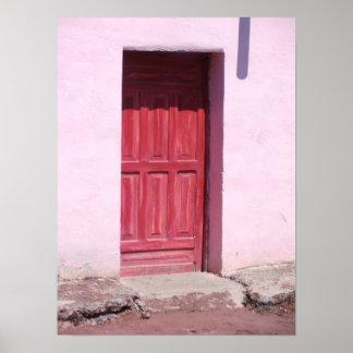 Lona roja de la puerta posters