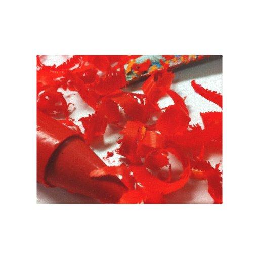 Lona roja del creyón y de la foto de las virutas impresión de lienzo