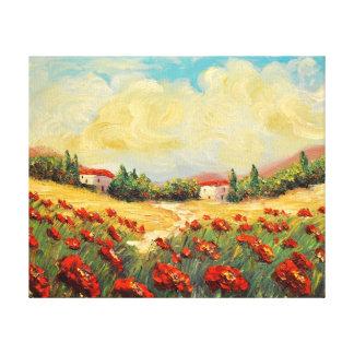 Lona roja del impresionista de las amapolas del pa impresión en lienzo