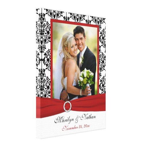 Lona roja, negra, blanca del boda del damasco impresiones en lona estiradas