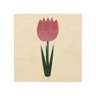 Lona rosada de madera del tulipán del remiendo impresiones en madera