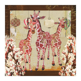 Lona rosada del jubileo de la cereza de las jirafa lona envuelta para galerias
