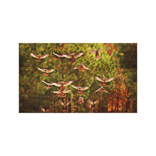 Lona salvaje de los pavos en vuelo impresión en lona