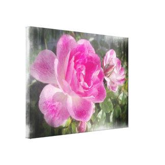 Lona subió jardín rosado ornamental impresión en lona