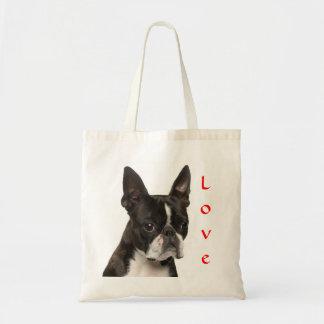 Lona Totebag del perro de perrito de Boston Terrie Bolsas