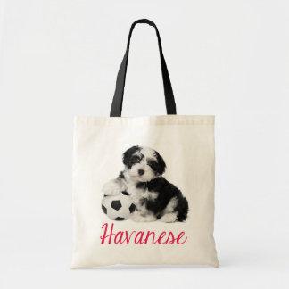 Lona Totebag del perro de perrito de Havanese del Bolsa Tela Barata