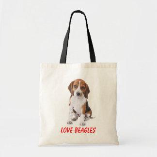 Lona Totebag del perro de perrito de los beagles Bolsa De Mano