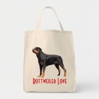 Lona Totebag del perro de perrito de Rottweilers Bolsa Tela Para La Compra