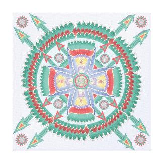 Lona tribal de la mandala de la turquesa y del impresiones en lona
