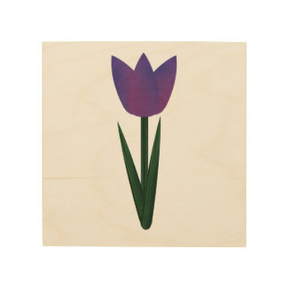 Lona violeta de madera del tulipán del remiendo cuadro de madera