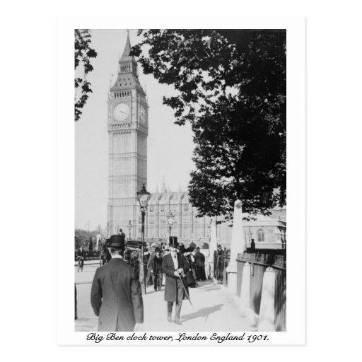 London 1901, Big Ben Clock & House of Parliament Postcard