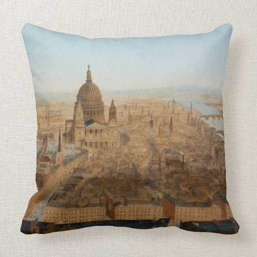 London: a bird's eye view of St. Paul's and the Ri Throw Pillows
