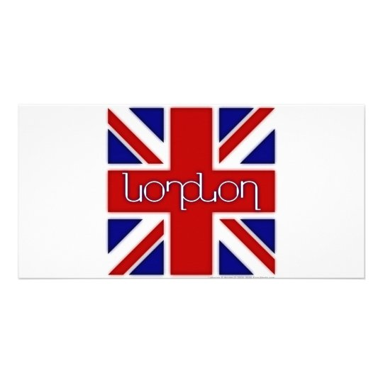 'London' ambigram on UK flag Card