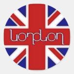 'London' ambigram on UK flag Classic Round Sticker
