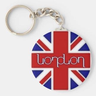 'London' ambigram on UK flag Key Chain