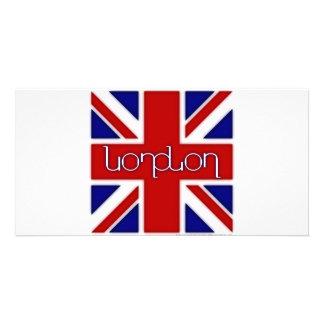 'London' ambigram on UK flag Custom Photo Card