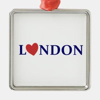 London amor adorno navideño cuadrado de metal