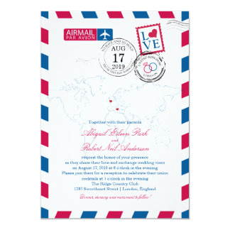 London and Italy Airmail   Wedding Card