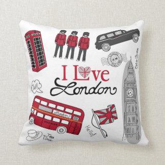London Art Phonebooth, Doubledecker Bus Throw Pillow