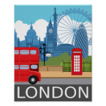 London art print retro travel railway poster