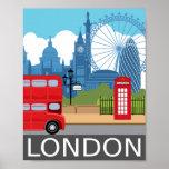 "London art print retro travel railway poster<br><div class=""desc"">London art print</div>"
