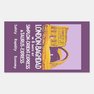 London - Baghdad Orient Express Rectangular Sticker